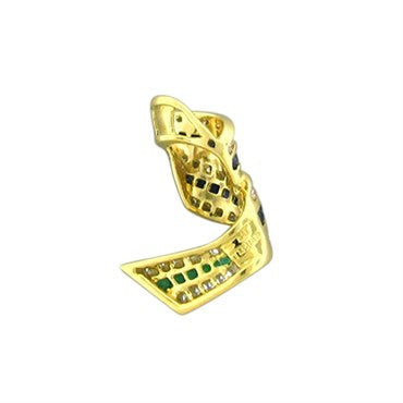 thumbnail image of Charles Krypell 18K Yellow Gold Emerald Sapphire Diamond Pendant