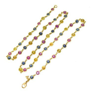 image of Temple St. Clair Multi Color Sapphire 18K Gold Link Necklace