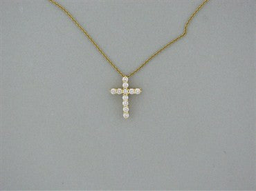 image of Tiffany & Co 18k Yellow Gold Diamond Cross Pendant Necklace