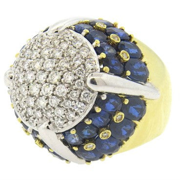 image of 1980s Italian Sapphire Diamond Gold Dome Ring