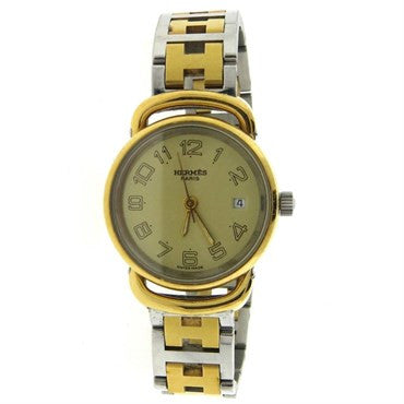 image of Hermes Gold Tone Stainless Steel Clipper Two Tone Wristwatch