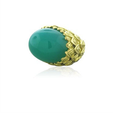 image of David Webb 18K Yellow Gold Green Agate Cabochon Large Ring