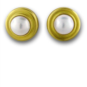image of New Slane And Slane 18k Gold Pearl Earrings