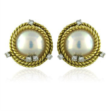 thumbnail image of Tiffany & Co Jean Schlumberger Rope Pearl Diamond Earrings