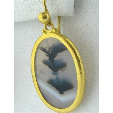 thumbnail image of New Gurhan 24k Gold Moss Agate Drop Earrings
