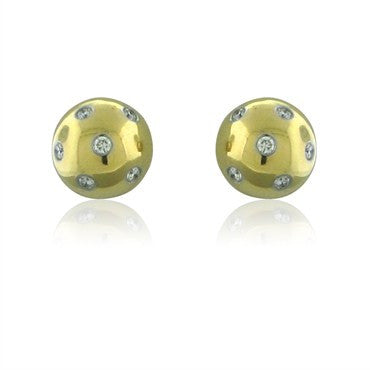 image of Tiffany & Co Etoile Ball 18K Yellow Gold Platinum Diamond Earrings