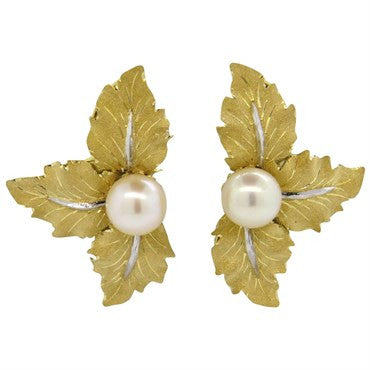 image of Buccellati Pearl Gold Leaf Motif Earrings