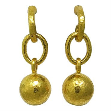 thumbnail image of Gurhan 24k Hammered Gold Ball Drop Earrings