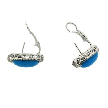 image of Turquoise 1.20ctw Diamond 18k Gold Oval Earrings