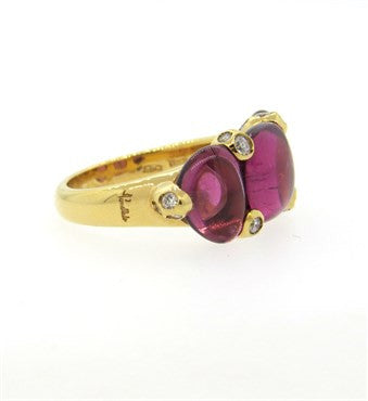 thumbnail image of Pomellato Sassi 18k Gold Pink Tourmaline Diamond Ring