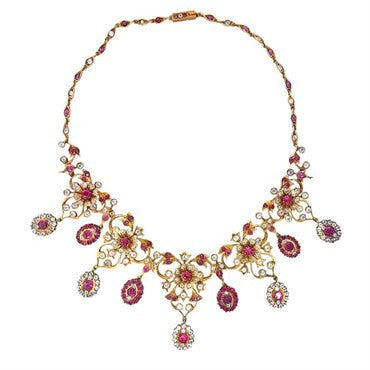 image of Antique Gold Natural Burmese Ruby Sapphire Necklace