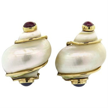 thumbnail image of Seaman Schepps Turbo Shell Ruby Sapphire 14k Gold Earrings