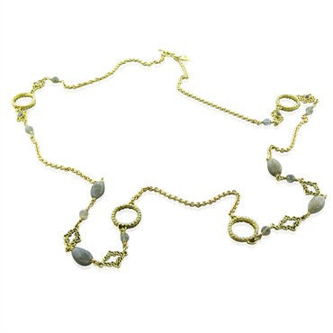 image of Emily Armenta 18K Yellow Gold Labradorite Moonstone Diamond Necklace
