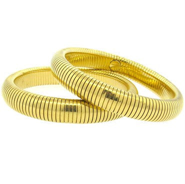 thumbnail image of Forstner Retro 14k Gold Flexible Bangle Bracelet Set