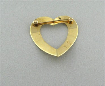 thumbnail image of Vintage Tiffany & Co 14K Yellow Gold Heart Brooch Pin