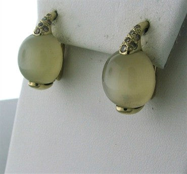 thumbnail image of Pomellato Luna 18K Gold Diamond Moonstone Earrings
