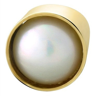 thumbnail image of Jens Asby Modernist 14K Gold 17.6mm Mabe Pearl Ring