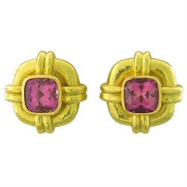 image of Elizabeth Locke 18k Gold Pink Tourmaline Earrings