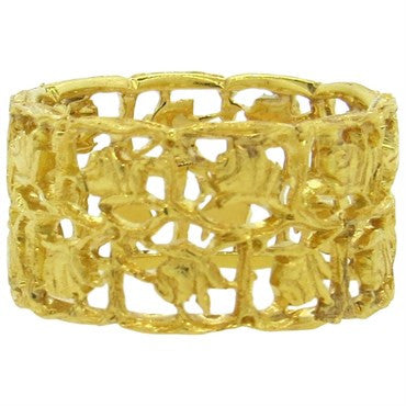 image of Buccellati 18k Gold Floral Motif Wide Band Ring