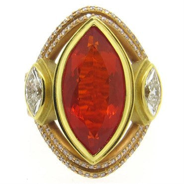 image of Impressive Sam Lehr Mexican Fire Opal 2.00ctw Diamond 18k Gold Ring