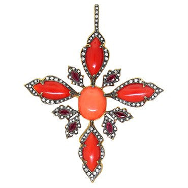 image of Cathy Waterman 22k Gold Diamond Coral Ruby Pendant