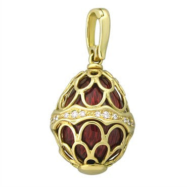 image of Faberge 18K Yellow Gold Diamond Red Enamel Egg Charm Pendant