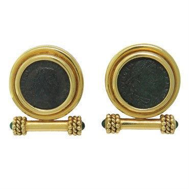 image of Elizabeth Locke Gold Emerald Ancient Coin Earrings