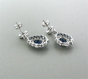 thumbnail image of EGL Certified 14K Gold 6.43ctw Sapphire 1.35ct Diamond Drop Earrings