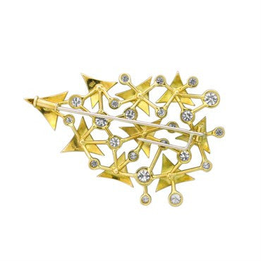 image of Modernist 18k Gold Diamond Brooch