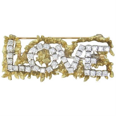 image of 1970s Diamond 18K Gold Love Brooch Pin
