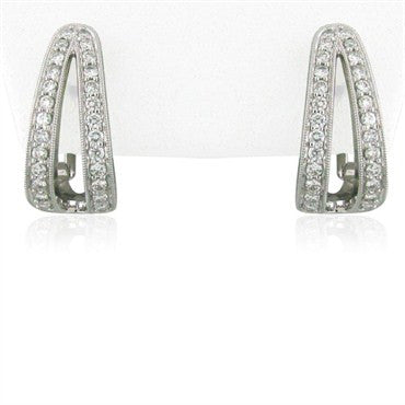 thumbnail image of Simon G 18k White Gold Diamond Earrings