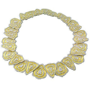 image of Buccellati Impressive Rigato Diamond Gold Necklace