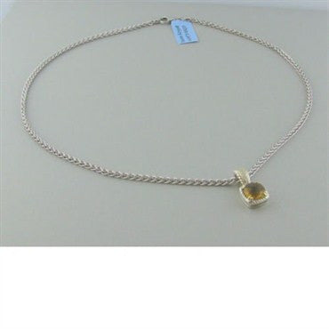 image of Krypell Sterling 14k Gold Citrine Diamond Necklace
