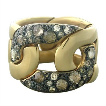 image of Pomellato Tango 18K Gold Diamond Wide Band Ring