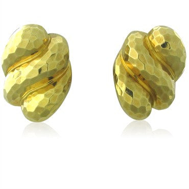 image of Estate Henry Dunay 18K Yellow Gold Hammered Finish Earrings