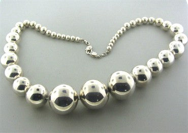 thumbnail image of Robert Lee Morris RLM Sterling Silver Graduated Large Bead Necklace