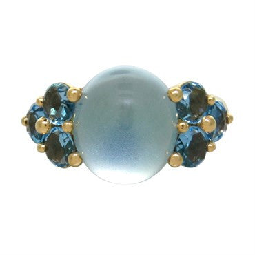 image of New Pomellato Luna 18k Gold Blue Topaz Ring