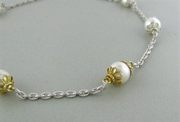 image of Estate Judith Ripka Sterling Silver 18K Gold Pearl Necklace