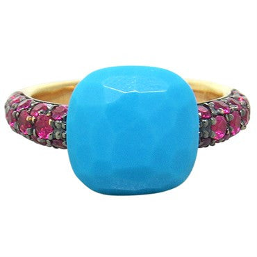 thumbnail image of New Pomellato Capri 18k Gold Ruby Turquoise Ring