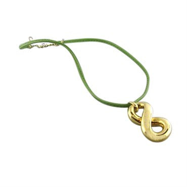 image of New Faraone Mennella 18k Green Leather Cord Necklace
