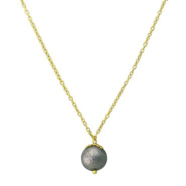 image of New Gurhan 24K Gold Blackened Silver Ball Drop Pendant Necklace