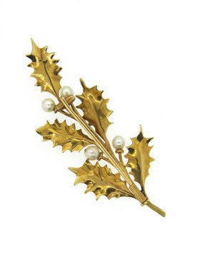 thumbnail image of Buccellati Pearl 18k Gold Leaf Brooch Pin