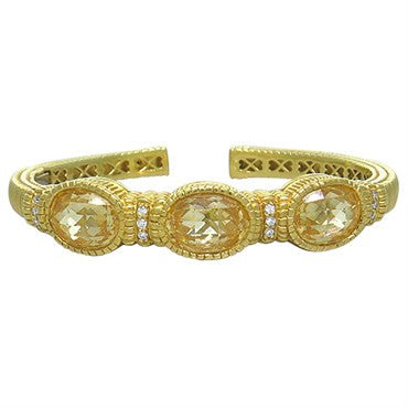 image of Judith Ripka 18k Yellow Gold Diamond Citrine Cuff Bracelet