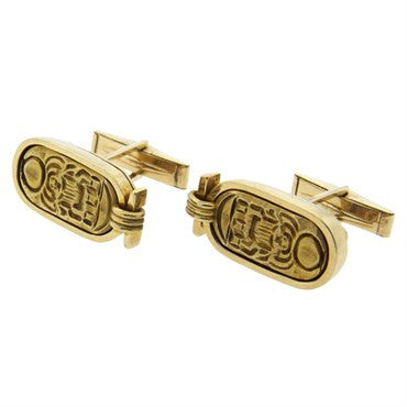 thumbnail image of 1970s Gold Hieroglyph Cufflinks