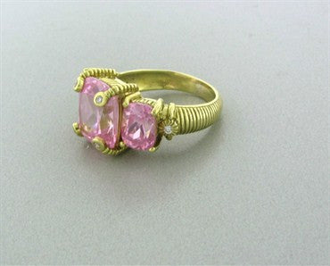 image of Judith Ripka 18K Yellow Gold Rose Quartz Diamond Ring