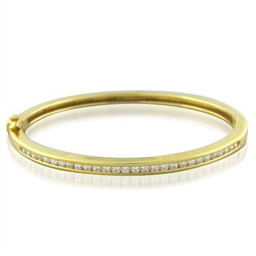thumbnail image of Tiffany & Co 18k Gold Diamond Bangle Bracelet