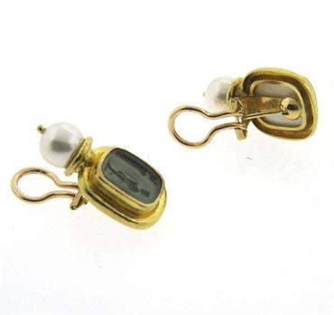thumbnail image of Elizabeth Locke Venetian Glass Intaglio Pearl 19k Gold Drop Earrings