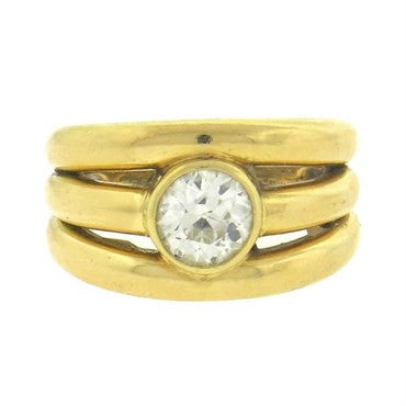 image of Chaumet France Mid Century 1.54ct Diamond 18k Gold Ring