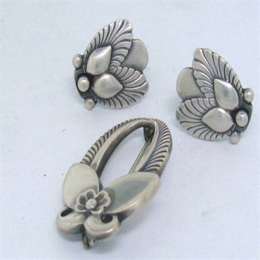 image of Estate Georg Jensen Sterling Earrings Pin Set
