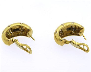 thumbnail image of Classic Gold Diamond Hoop Earrings